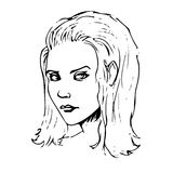 Beauty girl face sketch. Vector illustration. Vector illustration. Women sketch portrait Royalty Free Stock Photography
