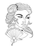 Beauty girl face. Tattoo . retro witch Vector Illustration