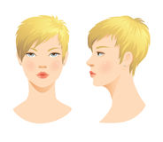 Beauty girl face. Various turns head with short blond haircut. Face in front. Face in profile Stock Photo