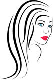 Beauty girl face. Vector Portrait Royalty Free Stock Images