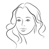 Beauty girl. Fashion beautiful woman face. Ink. Royalty Free Stock Photography