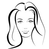 Beauty girl. Fashion beautiful woman face. Ink. Royalty Free Stock Photo
