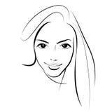 Beauty girl. Fashion beautiful woman face. Ink. Stock Photos
