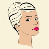 Beauty girl. Fashion beautiful woman face. Ink. Royalty Free Stock Photography