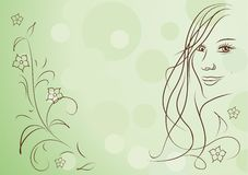 Beauty girl and flowers abstract spring background Royalty Free Stock Images