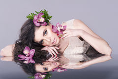 Beautiful Woman Face with Flowers Royalty Free Stock Image