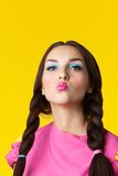 Beauty girl with funny make-up in doll costume Royalty Free Stock Photo
