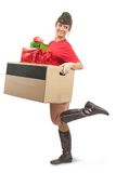 Beauty girl in garrison cap with christmas gifts Royalty Free Stock Photo