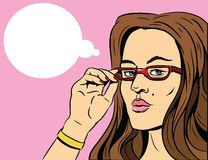 Beauty girl in glasses. Pop art illustraton. stock illustration