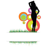 Beauty girl on the grass vector photo two Stock Images