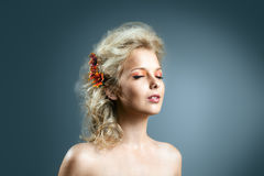 Beauty girl with hair style and autumn flower Royalty Free Stock Photos