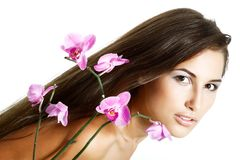 Beauty girl, happy young natural beautiful woman over white back stock photos