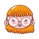Beauty girl head with glasses and hairstyle. Vector illustration vector illustration