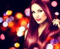 Beauty girl with healthy brown hair Royalty Free Stock Images