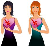 Beauty girl with heart gift. Beautiful girl with heart gift stock illustration