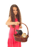 Beauty girl holding basket with chicken Stock Photo