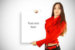Beauty girl holding billboard with empty place Stock Images