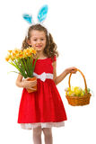 Beauty girl holding easter basket Royalty Free Stock Photo