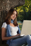 Beauty girl with laptop Royalty Free Stock Image