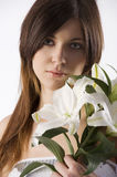 Beauty girl with lily Royalty Free Stock Image