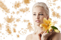 Beauty girl with lily Royalty Free Stock Photo