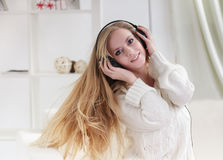 Beauty girl listen music royalty free stock images