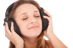 Beauty girl listen music in headphones Stock Photos