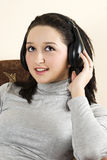 Beauty girl listening music Stock Photography