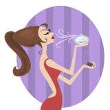 Beauty girl makeup. Cartoon character makeup illustration vector stock illustration