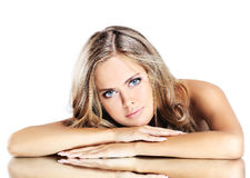 Beauty girl with makeup brushe Royalty Free Stock Image
