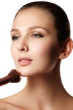 Beauty Girl with Makeup Brushes. Natural Make-up for Brunette Wo Royalty Free Stock Images