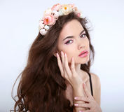 Beauty girl Makeup face. Healthy Hair. Young attractive woman wi Royalty Free Stock Photos