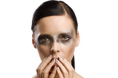 Beauty girl making face Royalty Free Stock Images