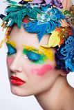 Beauty Girl With Material Flowers.Beautiful Model Stock Photography
