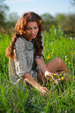 Beauty girl on the meadow Stock Images