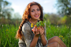 Beauty girl on the meadow Stock Photo