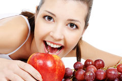 Beauty girl and nice fruits Stock Photo