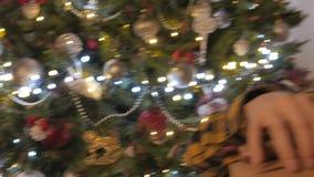 Beauty girl opens Christmas gift box. 4K UHD. Native video stock footage