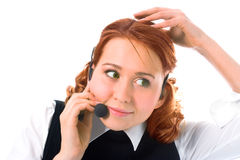 Beauty girl operator Royalty Free Stock Photos