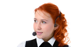 Beauty girl operator with headphones Stock Images