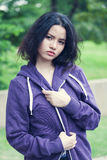 Beauty Girl Outdoors. In park. Beautiful Teenage Model royalty free stock image