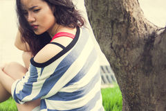 Beauty Girl Outdoors. In park. Beautiful Teenage Model stock images