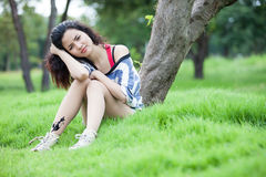 Beauty Girl Outdoors. In park. Beautiful Teenage Model stock photos