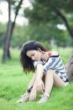 Beauty Girl Outdoors. In park. Beautiful Teenage Model stock image