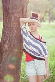 Beauty Girl Outdoors. In park. Beautiful Teenage Model royalty free stock images