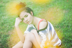 Beauty Girl Outdoors. In park. Beautiful Teenage Model royalty free stock photography