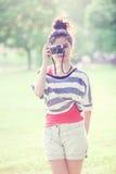 Beauty Girl Outdoors. In park. Beautiful Teenage Model stock photo