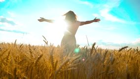 Beauty girl outdoors enjoying nature wheat field slow motion video. Beautiful girl in white dress running nature freedom. Happiness hands to side on field at stock video