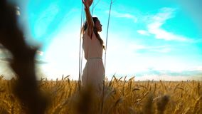 Beauty girl outdoors enjoying nature wheat field slow motion video. Beautiful girl in white dress running nature freedom. Happiness hands to the side on field stock video footage