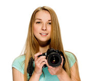 Beauty girl photographer Royalty Free Stock Photography